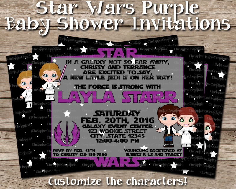 Star Wars Baby Shower Invitation Purple