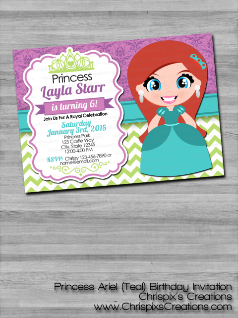 Disney Princess Ariel Birthday Invitation The Little Mermaid