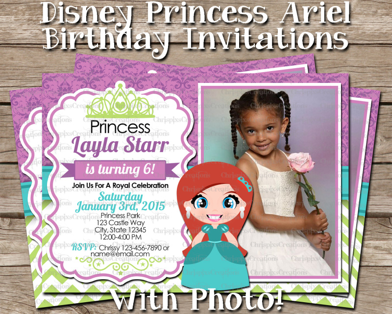 Disney Princess Ariel Birthday Invitation With Photo The Little Mermaid