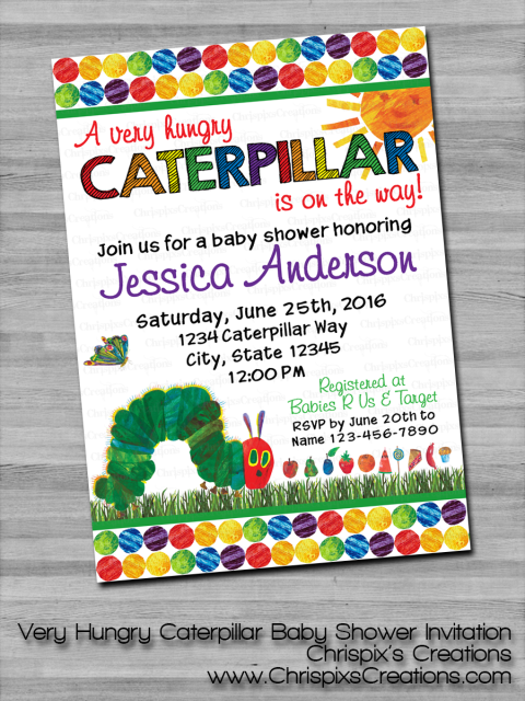 Very hungry caterpillar baby shower invitation filmwisefo