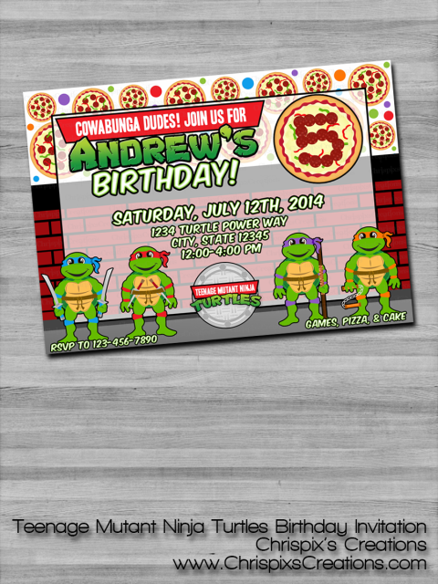Do You Or Your Loved One LOVE Teenage Mutant Ninja Turtles This Custom Birthday Invitation Print Is Perfect To Send Out For An Upcoming Bash