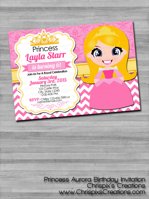 Disney Princess Aurora Birthday Invitation Sleeping Beauty