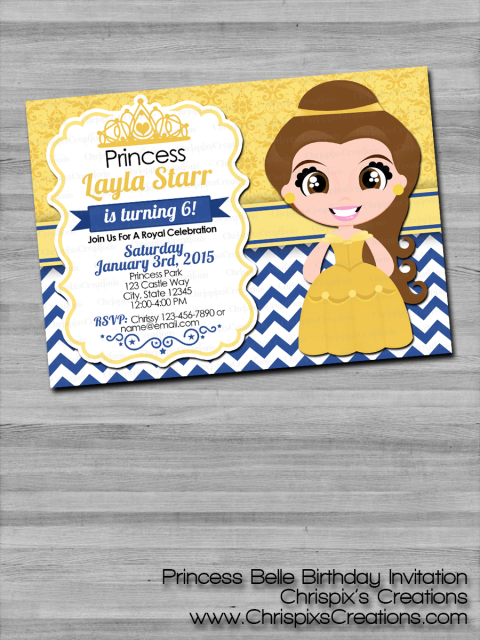 Disney princess belle birthday invitation beauty and the beast filmwisefo