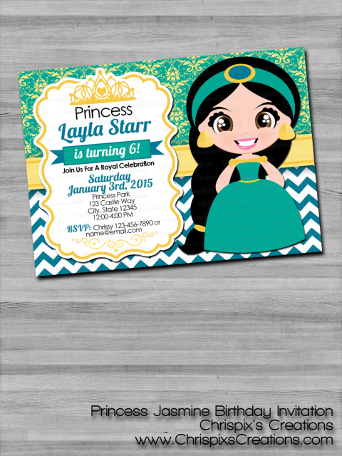 Disney Princess Jasmine Birthday Invitation Aladdin