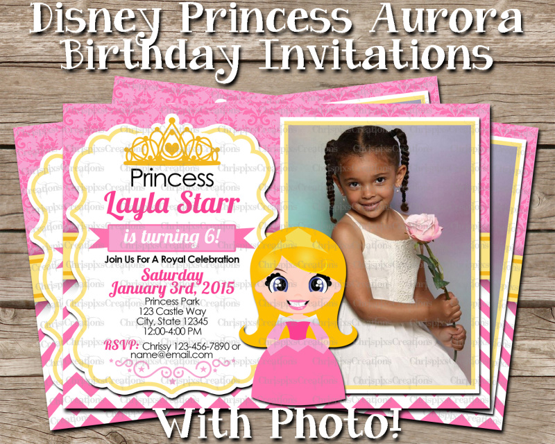 Disney Princess Aurora Birthday Invitation With Photo Sleeping Beauty