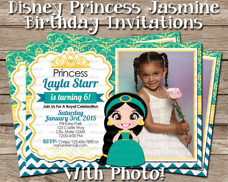 Disney Princess Jasmine Birthday Invitation With Photo Aladdin