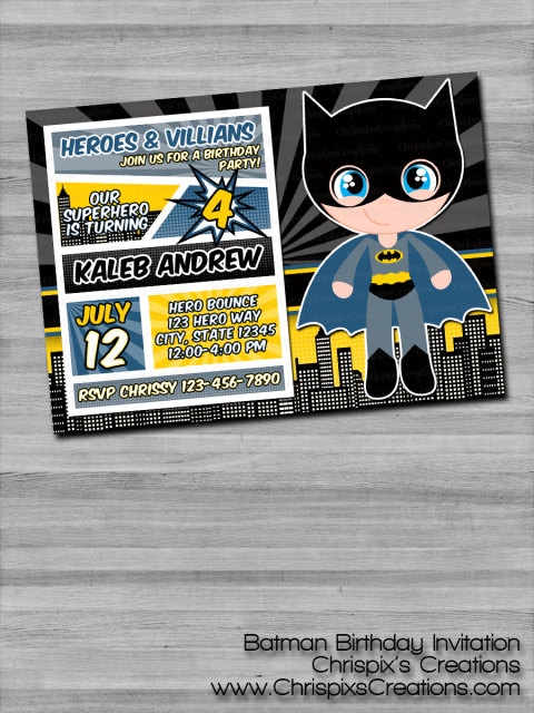 Batman Birthday Invitation Justice League DC Comics
