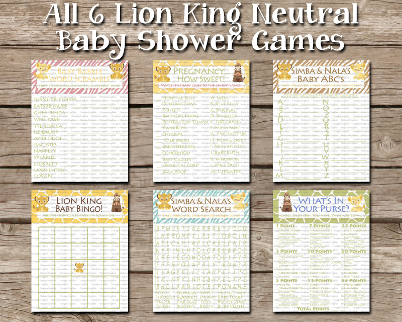 Instant Download 6 Neutral Lion King Games Bundle