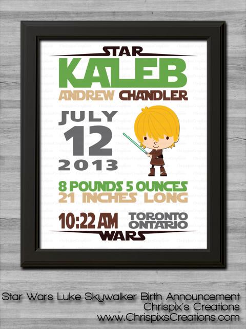 Star Wars Birth Announcement Luke Skywalker