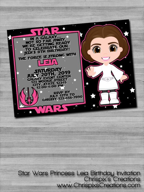 Star Wars Princess Leia Birthday Invitation