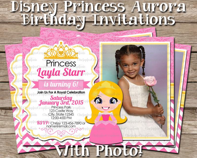 Disney Princess Aurora Birthday Invitation With Photo Sleeping Beauty